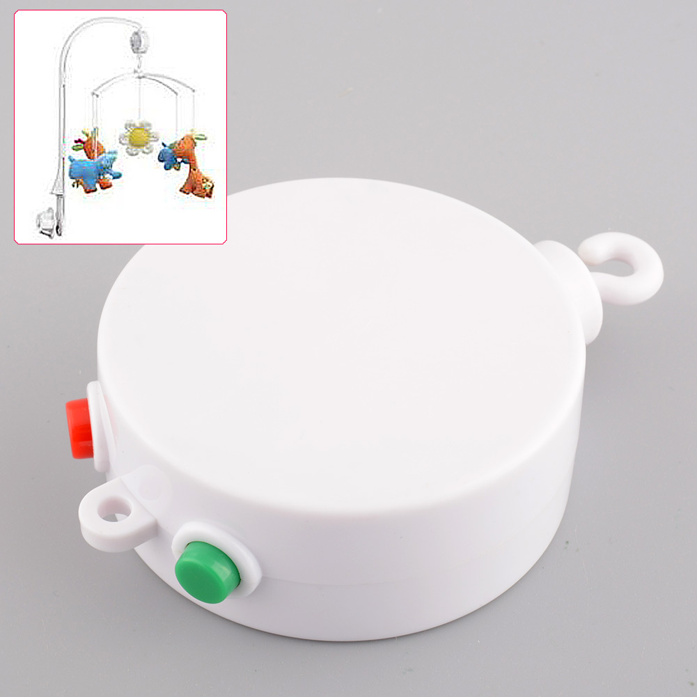 1 Pcs White 12 Melodies Song Baby Kids Mobile Windup Crib Electric Bed Bell Autorotation Music Box Cots Songs