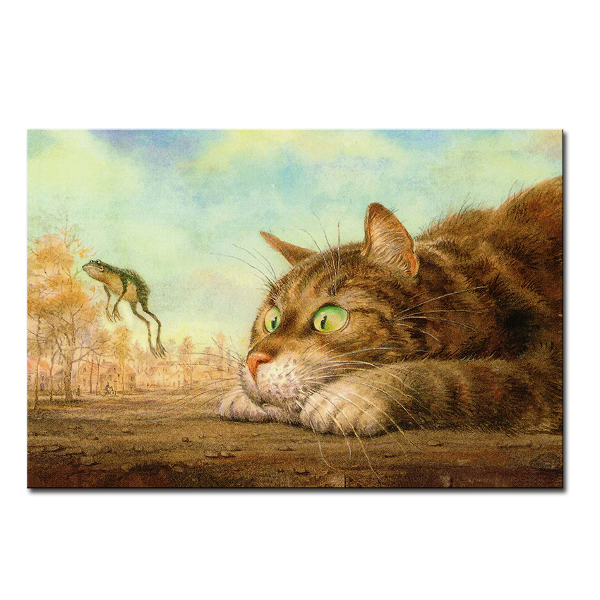 Vladimir Rumyantsev frog with cat world oil painting wall Art Picture Paint on Canvas Prints wall painting no framed(China (Mainland))