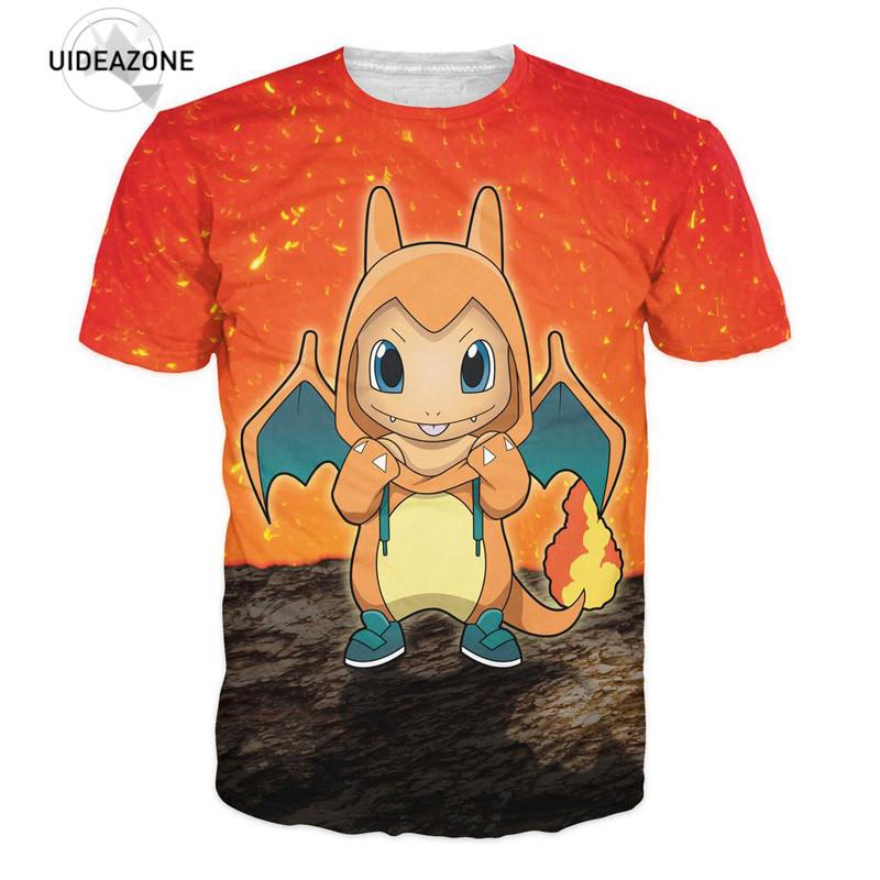 Pokemon T Shirt 3d Charmander Brand Clothing Summer Men Women T-Shirt Classic Anime Cartoon Tees Unisex Fashion Camisa Drop Ship