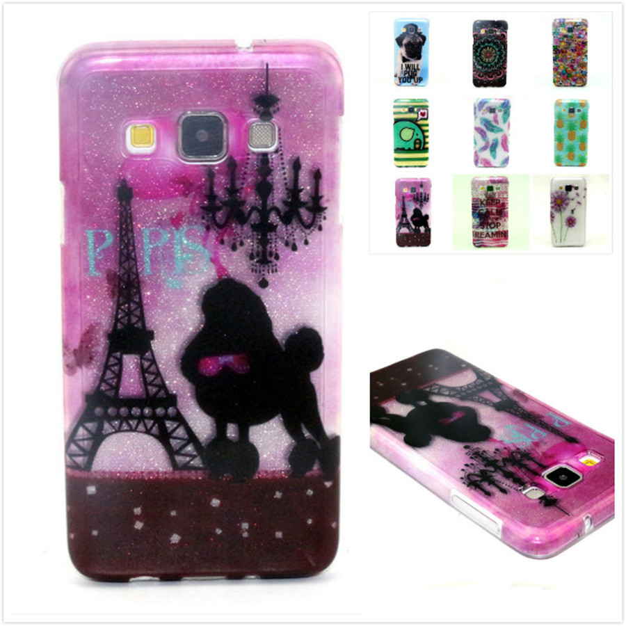 Luxury Shiny Glitter Cute Cartoon Dog Tower Bright Painted TPU for Samsung Galaxy A5 A500F A500H Silicon Rubber Case Back Cover(China (Mainland))