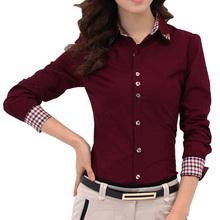 2016 Autumn Spring Women Shirt Patchwork Plaid ladies office shirts Basic Top Blusas Women Blouses Shirt Camisas Femininas (China (Mainland))