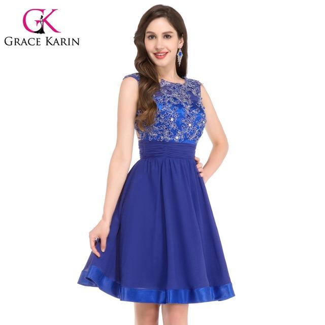 Спинки кружева шифон короткие королевский синий пром платья длиной до колен сексуальная ...