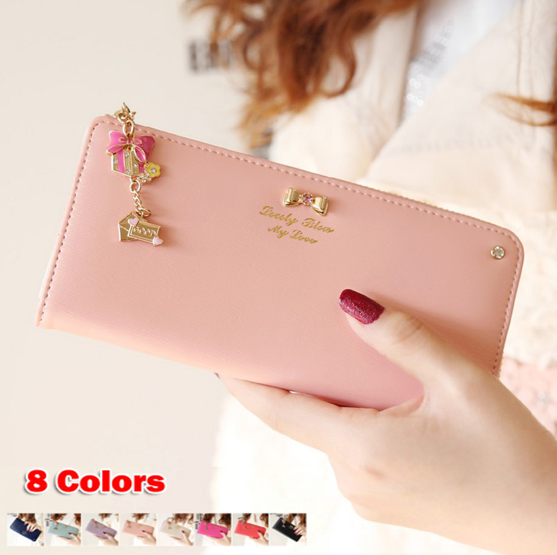 Hot Sale High Quality Colorful bowknot pendant PU Leather Long Design Women Wallet Coin Purse Ladies