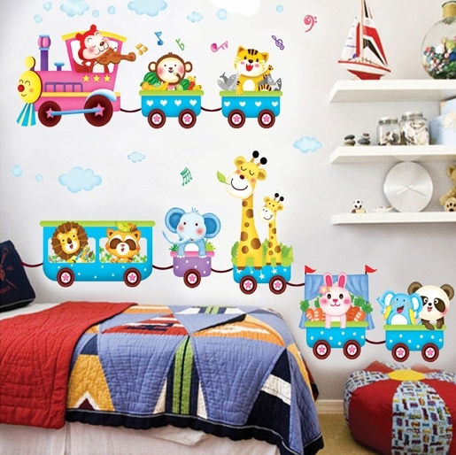 Kids Animals Cars Train Wall Stickers Decals Cartoon Traffic Removal Wallpaper Poster Girls Boys Home Bedroom Nursery Decor - My Butterfly store