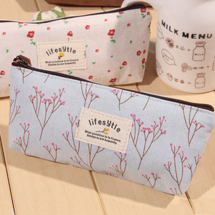 Cute Kawaii Floral Flower Canvas Zipper Pencil Cases Lovely Fabric Flower Tree Pen Bags School Supplies Free shipping 1151(China (Mainland))