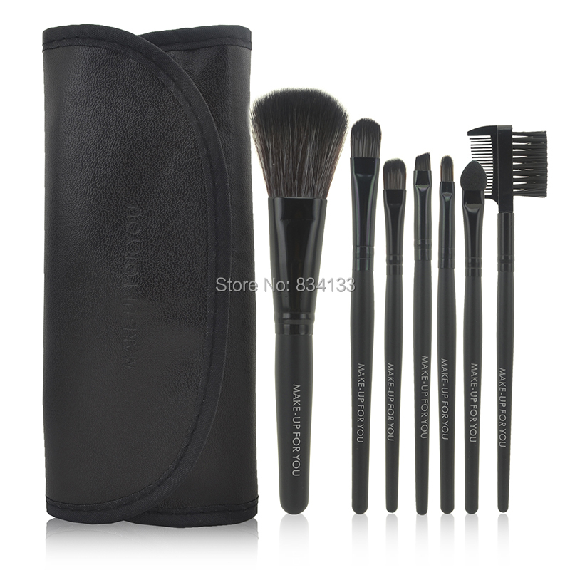 7 pcs Professional Synthetic Hair Make Up Brush High Quality Makeup Brushes Set Kit Tools With Leather Case 9 Colors(China (Mainland))