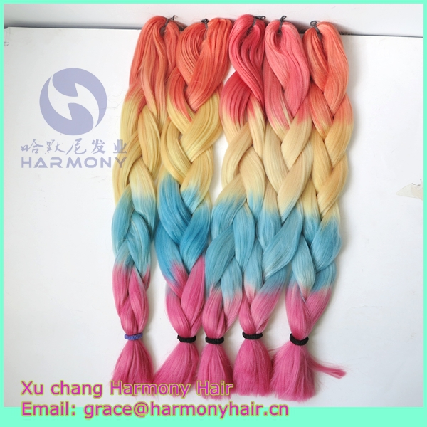 "DHL FREE SHIPPING 15packs/lot 24"" 100g synthetic ombre rainbow jumbo braids matt's orange+yellow+blue+pink box braiding hair(China (Mainland))"
