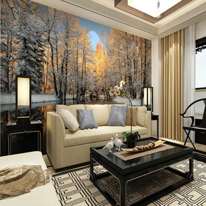 Achetez en gros neige d 39 hiver papier peint en ligne des grossistes neig - Ikea tapisserie murale ...