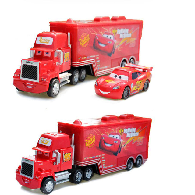 2PCS 100% Original Cars Diecast Metal Mack truck Hauler +Small Cars Toys 1:55 Children Holiday Gift Whosale