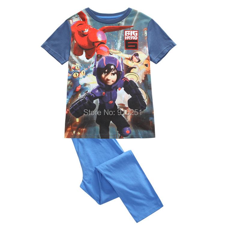 2015 spring summer boys super hero6 sleep set Pajamas set sleepwear girl soft homewear cartoon costumes kids(China (Mainland))