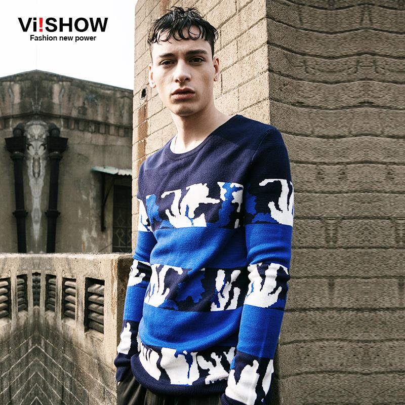 Viishow Spring Men Sweater Outdoor Casual Hip Hop Cool O-Neck Pullovers Long Sleeve Warm Print Knitted Sweater Plus Size