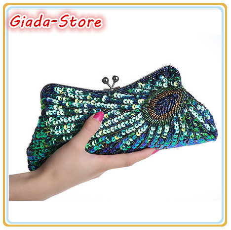 New Fashion Clutch Peacock Bag, Retro Rings Handmade Bags, Beaded Evening Bag Long Paragraph, Multicolor N3381 Free Shipping<br><br>Aliexpress