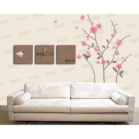 MAX3 3 In1 Square wooden high density board Art Poster Wall Clock and beauty wall stciker(China (Mainland))