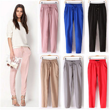 7Colors Summer New Women's Casual Pants Fashion Sexy Chiffon Elastic Waist Rainbow Pants Trousers Free Shipping 2015