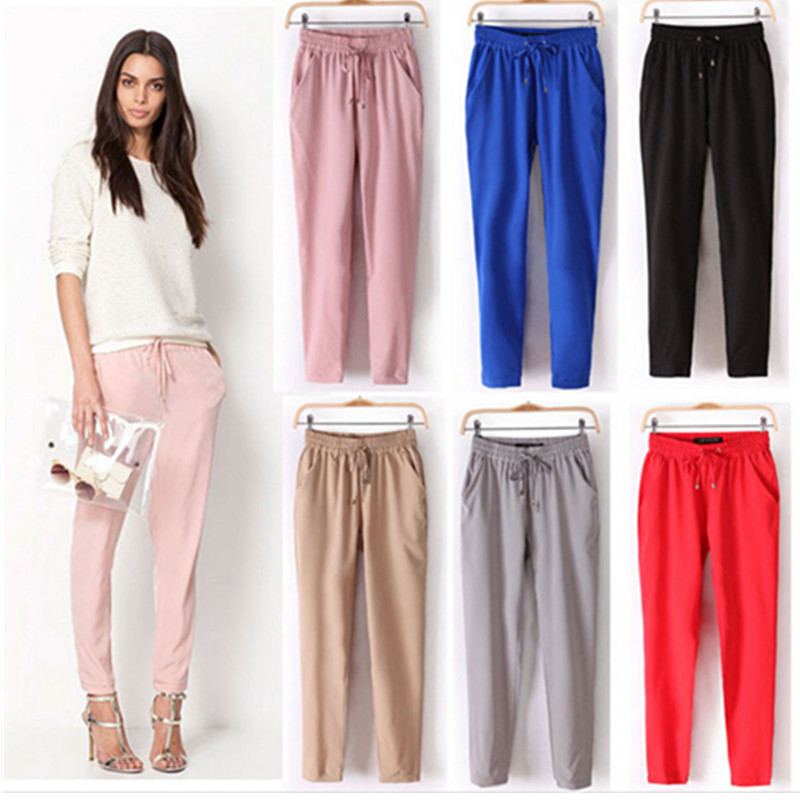 7Colors Summer New Women's Casual Pants Fashion Sexy Chiffon Elastic Waist Rainbow Pants Trousers Free Shipping 2015(China (Mainland))