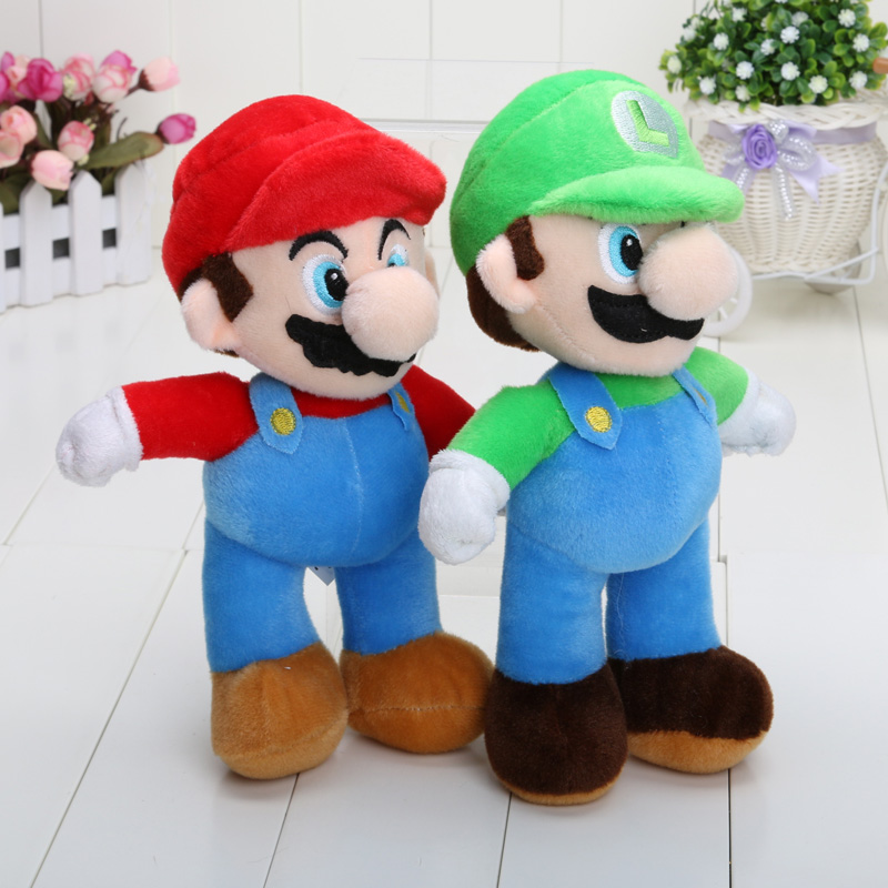 10'' 25cm Super Mario plush dolls Super Mario Soft Plush Mario Luigi mario bros plush toys Free shipping(China (Mainland))