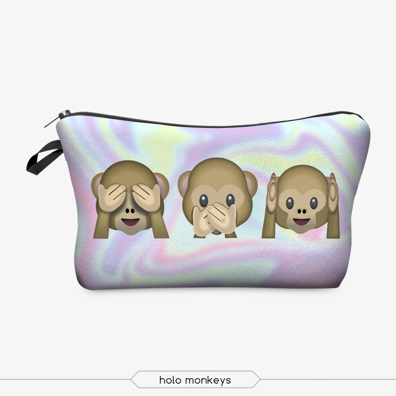 Women Cosmetic Bag 3D Printing Makeup Bags With Multicolor Pattern Cute Cosmetics Pouchs For Travel Ladies Pouch(China (Mainland))