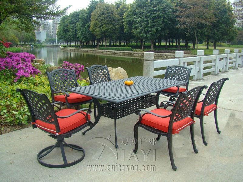 7-piece cast aluminum patio furniture garden furniture Outdoor furniture transport by sea(China (Mainland))