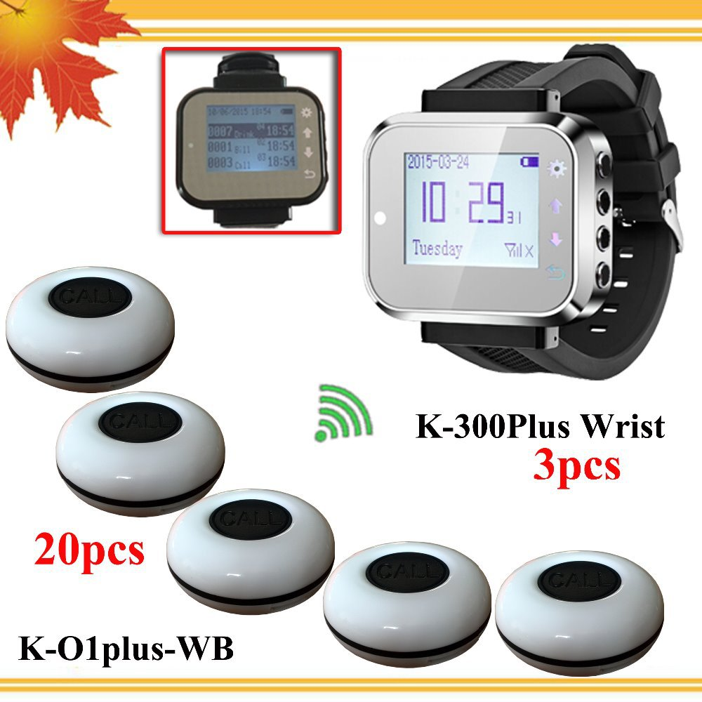 Restaurant waiter call system button to call waiter with 20 waiter caller button and 3 watch wrist DHL free shipping free(China (Mainland))
