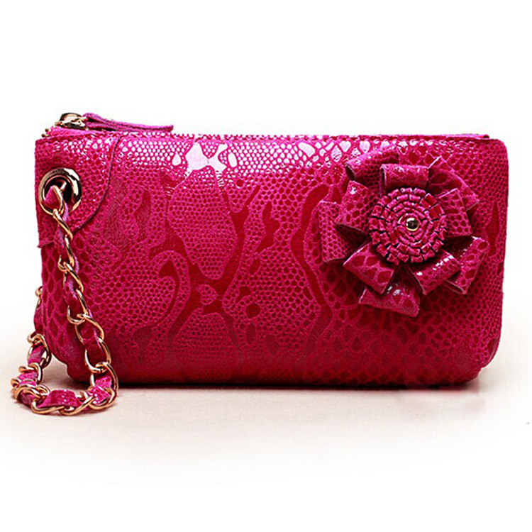 Korean style leather hand grip bag lady nubuck leather purse casual snake rose bag(China (Mainland))