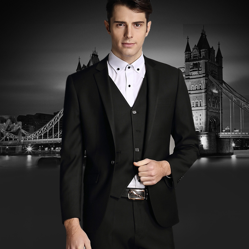 2015 new arrival wedding dress suits solid color men suit three-piece Business Dress Luxury Suits Jacket casual terno masculino