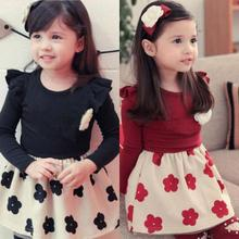 Factory Price! 1PC Kids Girls Dresses Flower Ruffled Long Sleeve Pageant Costume Dress 1-6Y