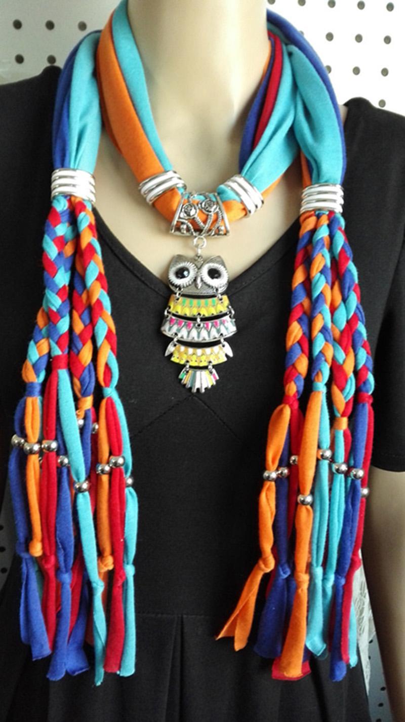 New Elegant Rhinestone Pendant Long Polyester Winter Warmth Scarves Women Necklace Scarves Pendant Jewelry Tassels Scarf Shawl