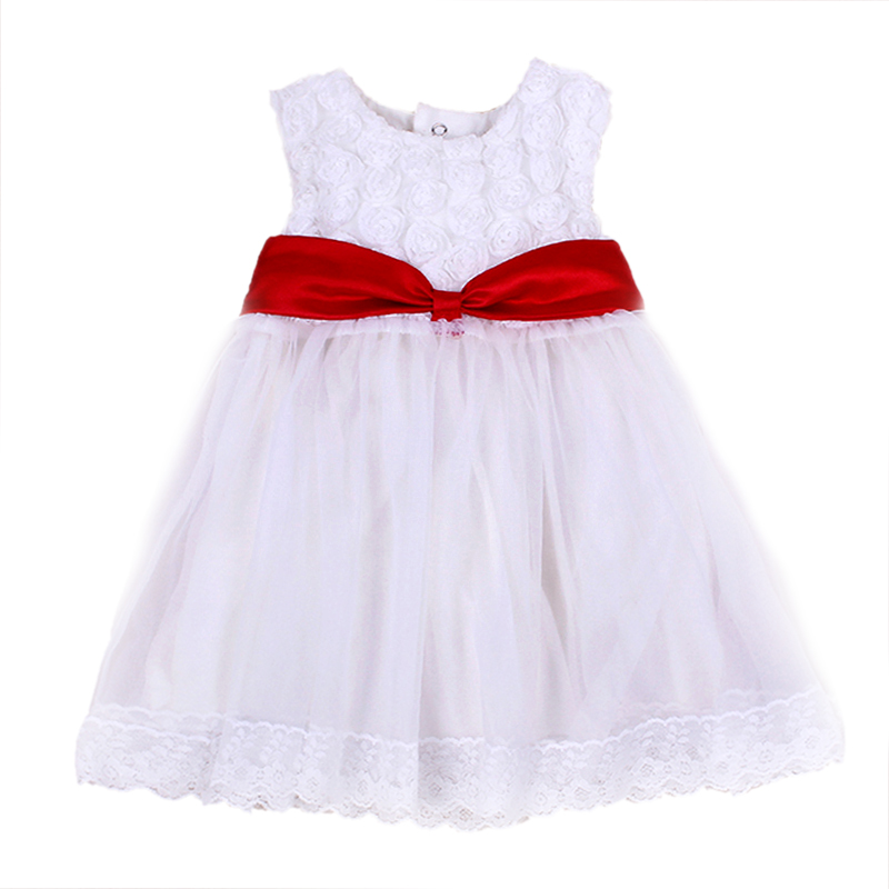 Top Quality 2016 New Dresses For Baby Kids Princess Sleeveless Whit Flower Little Girl Dress Children Wedding Party Ball Gown(China (Mainland))