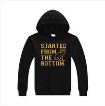 2016 Winter OVO Owl hoodies Pullover mens OVOXO Gold printed hooded sweatshirt sportswear drake ovoxo shirt hoodie thick,S-2xl(China (Mainland))