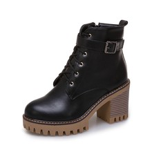 REAVE KEDI Sonbahar Kış ayak bileği çizmeler kadın ayakkabıları Platformu Lace up Yuvarlak ayak Kalın topuk Botas feminino Pu mujer yüksek topuk A1373(China)