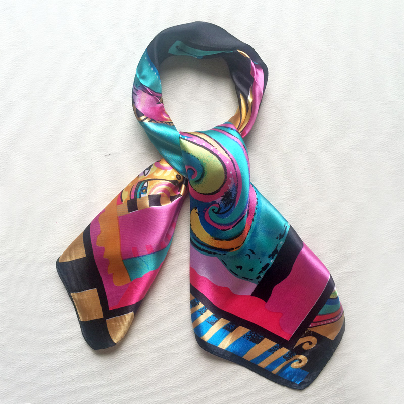 60x60 Horse Silk Square Scarf Brand Bright Color Head scarf Neck cooler Foulard New 2016(China (Mainland))