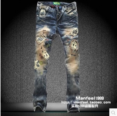 FRANKIE MORELLO Poker patch style Korean men straight jeans denim material(China (Mainland))