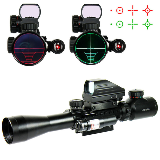 Hunting Optics C 3-9X40 EG Tactical Riflescope / Airsoft Weapon Telescopic Rifle Scope With Holographic Dot Sight & Red Laser