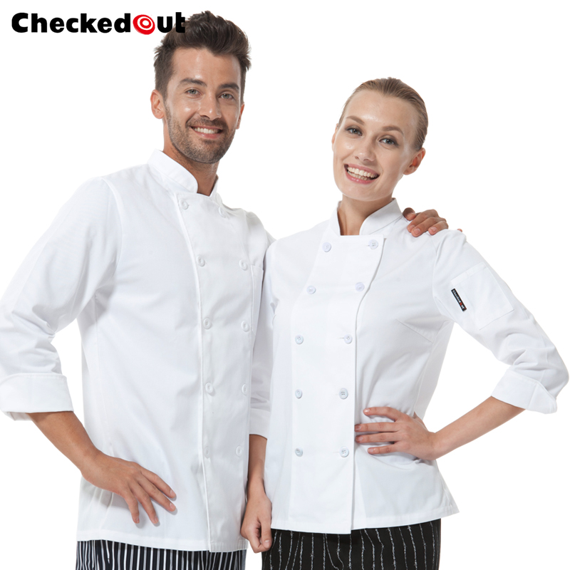Chef clothing for men and women long sleeve double breasted kitchen white happy chef uniforms jackets free shipping chefcoats(China (Mainland))