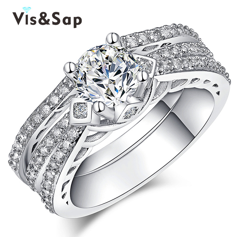 Bridal sets White Gold plated AAA cz diamond Vintage luxury engagement Wedding Gifts Rings For Women fashion Jewelry VSR166(China (Mainland))