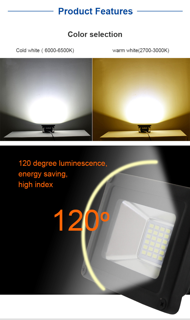 led light flooding 10 w 20 w coat ip65 lamp camping outside light projector SMD High-quality 5730 warm white cold white