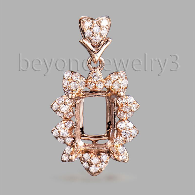 18k Rose Gold Diamond Semi Mount Pendant, Emerald Cut 5x7mm 750 Rose Gold Diamond Pendant For Sale WP078(China (Mainland))