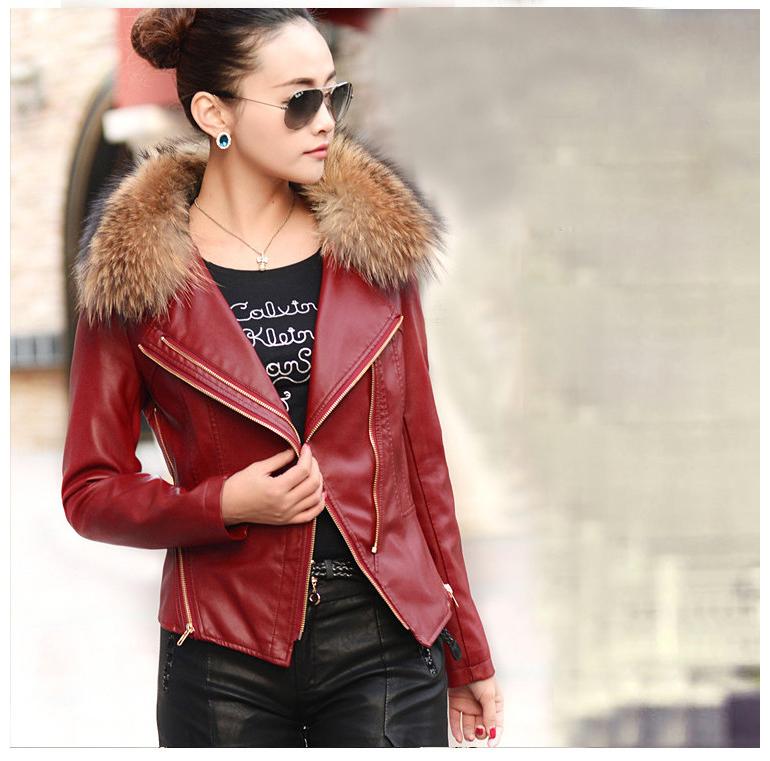 genuine leather jacket raccoon fur women sheepskin coat motorcycle L110 - K fashion show co.,Ltd store