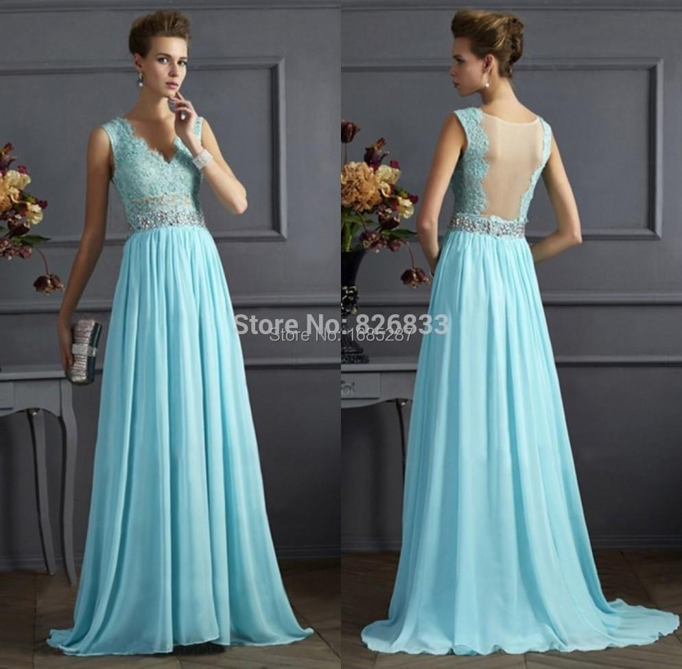 Pale Blue Long Bridesmaid Dress Sale