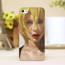 pz0020-3 oil painting melancholy girl Design cellphone transparent cover cases for iphone 4 5 5c 5s 6 6plus Hard Shell