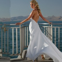 Vestido Sexy Deep V Beach Halter Chiffon Wedding Dress 2016 Backless A Line(China (Mainland))