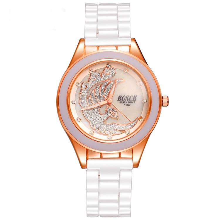 BOSCK New Fashion Crystals Round Dial Wrist Watch Imitation Ceramic For Woman Watch Free Shipping 002<br><br>Aliexpress