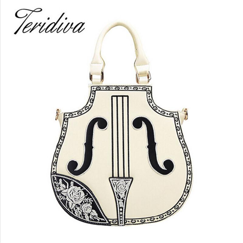 New Arrival Rock Style Women Handbag Electric Guitar Bag Woman Bags Fashion 2017 Designers Brand PU Leather Shoulder Bag Ladies(China (Mainland))