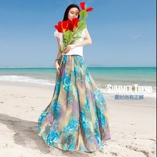 High quality 2015 fashion women's chiffon pleated skirt plus size print long skirt elastic waist mopping the floor beach skirts