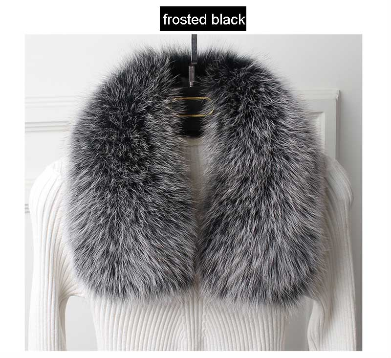 fox fur collar frosted black 1