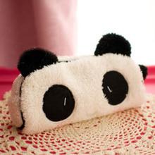 Вырезать каваи комикс 3D плюш panda пенал большие емкость многофункциональный школа питания noverty канцелярские 0017