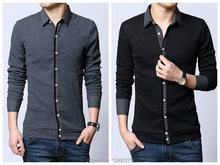 Long Sleeved Fake Two-piece Men Cardigans Knitted Polo Shirt Men Autumn Fashion Polo Shirt Black Gray Asian Size M-5XL FS2000(China (Mainland))