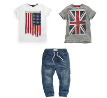 RT-125 Free shipping! Boys summer suit with British and American flag 2 t-shirts and jeans 3 pcs. set children's clothing retail(China (Mainland))