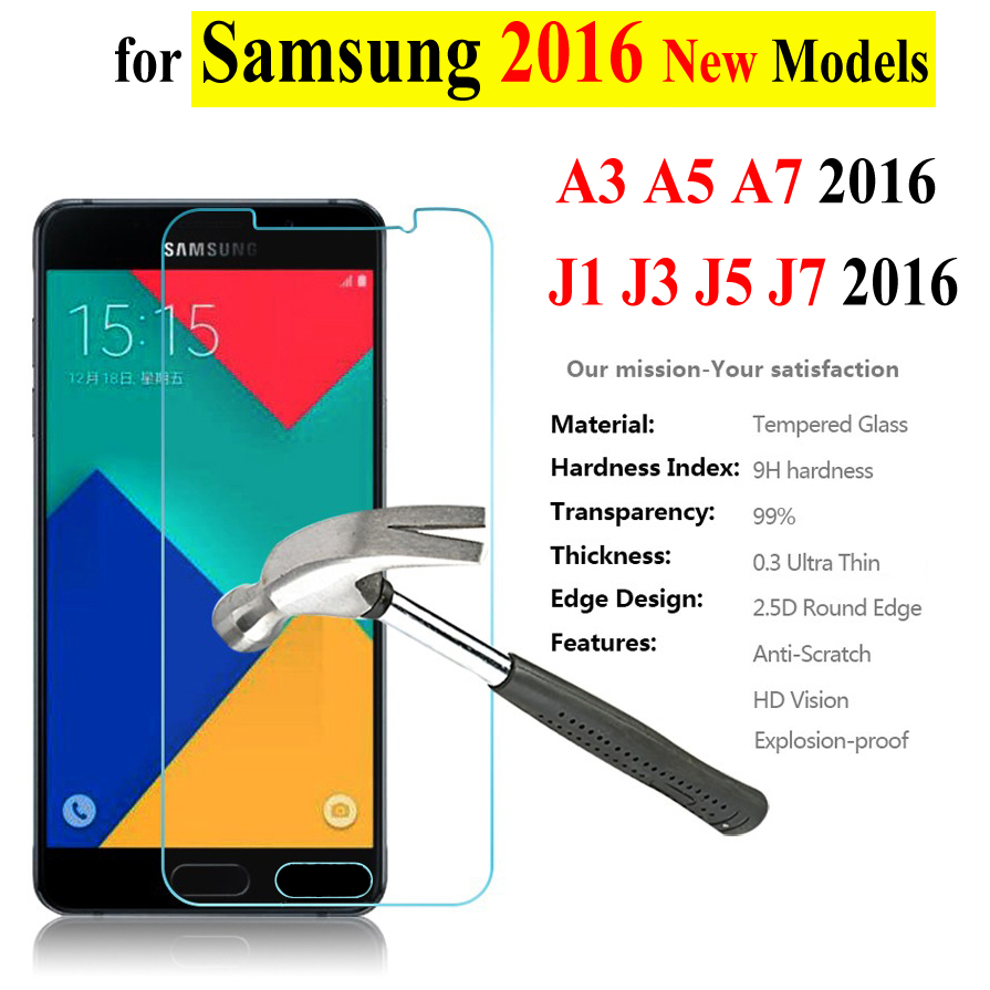 Baixin 0.3mm Tempered Glass Samsung Galaxy A3 A5 A7 A310F A510F A710F A7100 J1 J3 J5 J510 J7 2016 Screen Protector Film Case