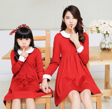 Mother daughter dresses matching mother daughter clothes family look clothing mom and daughter dress cute women robe 2015 autumn